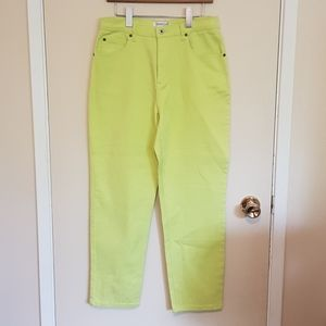 Lime green high rise crop mom jeans